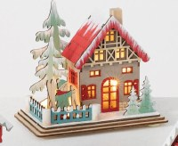 """5"""" LED Multicolor Winter House With Boy on Skis in Front"""