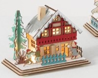 """5"""" LED Multicolor Winter House With Children in Front"""