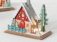 """5"""" LED Multicolor Winter Cabin With Deer in Front"""