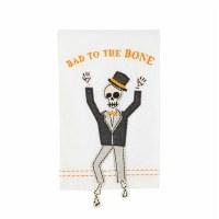 "21"" x 14"" Bad To The Bone Skeleton Dangle Leg Kitchen Towel by Mud Pie"