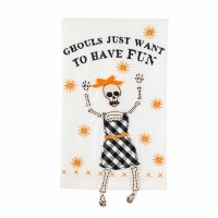 """21"""" x 14"""" Ghouls Just Want To Have Fun Skeleton Dangle Leg Kitchen Towel by Mud Pie"""