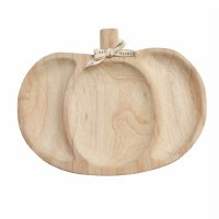 """16"""" Natural Wood Triple Compartment Pumpkin Server by Mud Pie"""