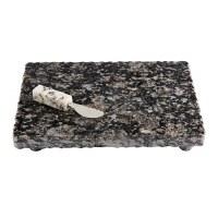 "10"" x 14"" Black Footed Granite Board With Granite Handled Spreader by Mud Pie"