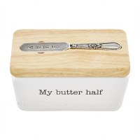 """6"""" White Ceramic My Butter Half Butter Box With Wood Lid and Spreader by Mud Pie"""