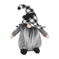 "6"" Black and White Plaid Bat Hat Halloween Gnome by Mud Pie"