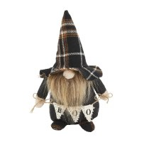 """6"""" Boo Banner Black Plaid Hat Halloween Gnome by Mud Pie"""