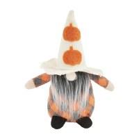 """6"""" Orange Pumpkin Hat Gray and Orange Plaid Halloween Gnome by Mud Pie"""