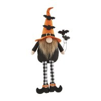 """9"""" Orange Hat With Bats Dangle Leg Witch Gnome by Mud Pie"""