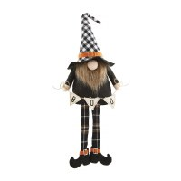 """9"""" Boo Banner Black and White Plaid Hat Dangle Leg Witch Gnome by Mud Pie"""