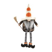 """9"""" White Pumpkin Hat Dangle Leg Witch Gnome With Broom by Mud Pie"""