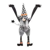 """15"""" Black and White Plaid Hat Dangle Arm Boy Gnome With Black Star by Mud Pie"""