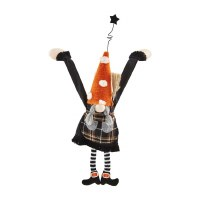 """15"""" Black Plaid and Orange Polka Dot Hat Dangle Arm Girl Gnome With Braids by Mud Pie"""