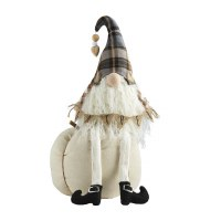 """17"""" Gray Plaid and Cream Gnome on Cream Knit Pumpkin With Burlap Gather Sign by Mud Pie"""