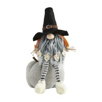 """12"""" Orange and Gray Gnome on Gray Knit Pumpkin With Fall Acorn Sign by Mud Pie"""