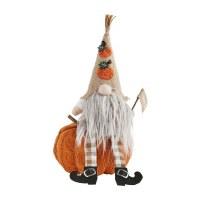 "14"" Orange and Burlap Pumpkin Hat Gnome on Orange Knit Pumpkin With Flag by Mud Pie"