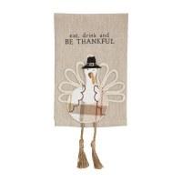 "21"" x 14"" Cream and Beige Be Thankful Turkey Dangle Leg Kitchen Towel by Mud Pie"