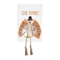 "21"" x 14"" Brown and Orange Give Thanks Turkey Dangle Leg Kitchen Towel by Mud Pie"
