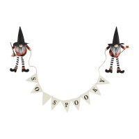 """58"""" So Spooky Banner Held By Halloween Witch Gnomes With Brooms by Mud Pie"""
