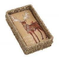 """8"""" x 4"""" Merry Reindeer Kraft Guest Towels in Seagrass Basket Holder by Mud Pie"""