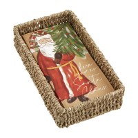 """8"""" x 4"""" Here Comes Santa Kraft Guest Towels in Seagrass Basket Holder by Mud Pie"""