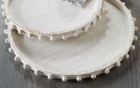 "22"" Round Antique White Beaded Rim Wood Tray by Mud Pie"