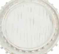 "18"" Round Antique White Beaded Rim Wood Tray by Mud Pie"