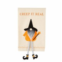 """21"""" x 14"""" Creep It Real Halloween Kitchen Towel With Dangle Leg Gnome Applique by Mud Pie"""