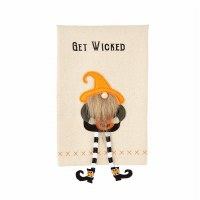 """21"""" x 14"""" Get Wicked Halloween Kitchen Towel With Dangle Leg Gnome Applique by Mud Pie"""