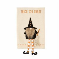 """21"""" x 14"""" Trick or Treat Halloween Kitchen Towel With Dangle Leg Gnome Applique by Mud Pie"""