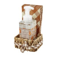 17 oz Spiced Pumpkin Hand Soap With Beige Pumpkins Guest Towels in a Water Hyacinth Basket by Mud Pie
