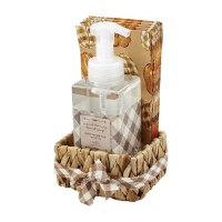17 oz Spiced Pumpkin Hand Soap With Brown Plaid Guest Towels in a Water Hyacinth Basket by Mud Pie