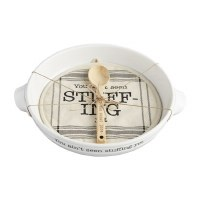 """12"""" Round White Ceramic Stuffing Yet Serving Dish With Pot Holder and Wood Spoon by Mud Pie"""