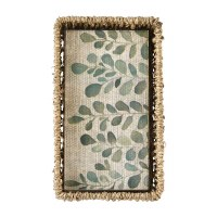 """8"""" x 4"""" Beige and Green Leaf Guest Towels in Seagrass Basket by Mud Pie"""