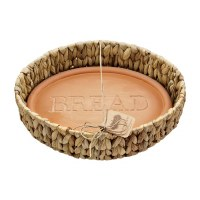 """13"""" Oval Water Hyacinth Basket With Round Bread Engraved Terracotta Stone by Mud Pie"""