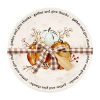 """12"""" Round Ceramic Watercolor Gather and Give Thanks Pumpkin Plate With Wood Spatula by Mud Pie"""