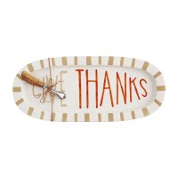 """16"""" Oval Hand-Painted Ceramic Give Thanks Platter With Wood and Silver Spreader by Mud Pie"""