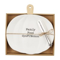 """10"""" Ceramic and Wood Family Food Fun Pumpkin Plate With Happy Thanksgathering Spreader by Mud Pie"""