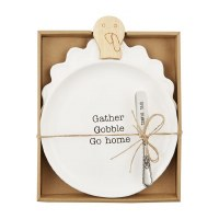 """11"""" Ceramic and Wood Gather Gobble Turkey Plate With Give Thanks Spreader by Mud Pie"""