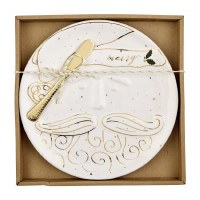 """9"""" Round Ceramic With Gold Accents Santa Cheese Plate With Brass Spreader by Mud Pie"""