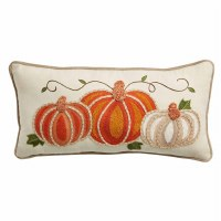 """12"""" x 24"""" Beige and Orange Embroidered Pumpkins Lumbar Pillow by Mud Pie"""