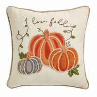 """18"""" Square Beige and Orange Embroidered I Love Fall Pumpkins Pillow by Mud Pie"""
