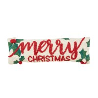 """8"""" x 24"""" Merry Christmas Holly Berry Hooked Lumbar Pillow by Mud Pie"""