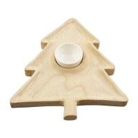 "15"" Natural Wood Tree Chip & Dip Plate With Ceramic Dip Cup by Mud Pie"