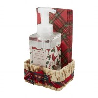 17 oz Winter Berry Hand Soap With Red Plaid Guest Towels in a Water Hyacinth Basket by Mud Pie