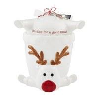 """10"""" Hand-Painted Ceramic Reindeer Cookie Jar With Silver Tongs by Mud Pie"""