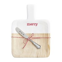 """9"""" Hand-Painted Merry Wood Serving Board With Silver Spreader by Mud Pie"""