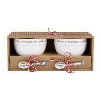 """Set of 2 4"""" Round Guac and Salsa Dip Bowls With Spoons by Mud Pie"""