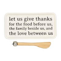 """4"""" x 8"""" Let Us Give Thanks Ceramic Butter Dish With Pumpkin Spreader by Mud Pie"""