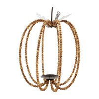 "12"" Mango Wood Bead and Metal Wire Pumpkin Lantern by Mud Pie"