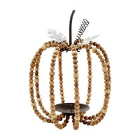 "9"" Mango Wood Bead and Metal Wire Pumpkin Lantern by Mud Pie"
